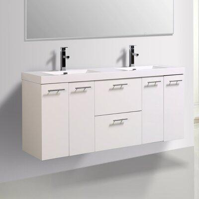 Orren Ellis Wall Mounted Double Bathroom Vanity Set Base Vanities