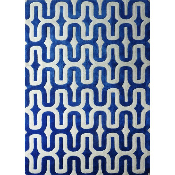 Hayter Hand-Tufted Blue/White Indoor Area Rug by Brayden Studio