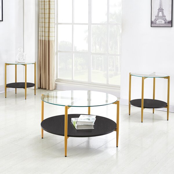 Nadine 3 Piece Coffee Table Set by Everly Quinn Everly Quinn