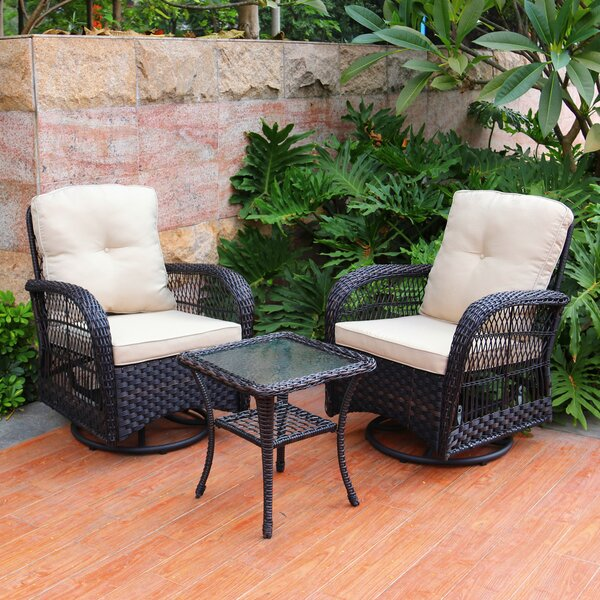 Melendy Swivel Conversation 3 Piece Seating Group with Cushions by Canora Grey