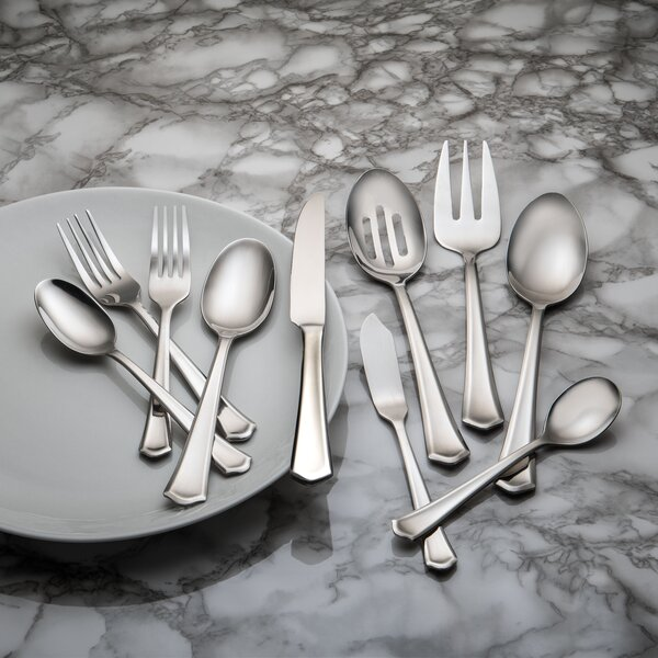 Barberry 45 Piece Stainless Steel  Flatware Set, Service for 8 by Farberware