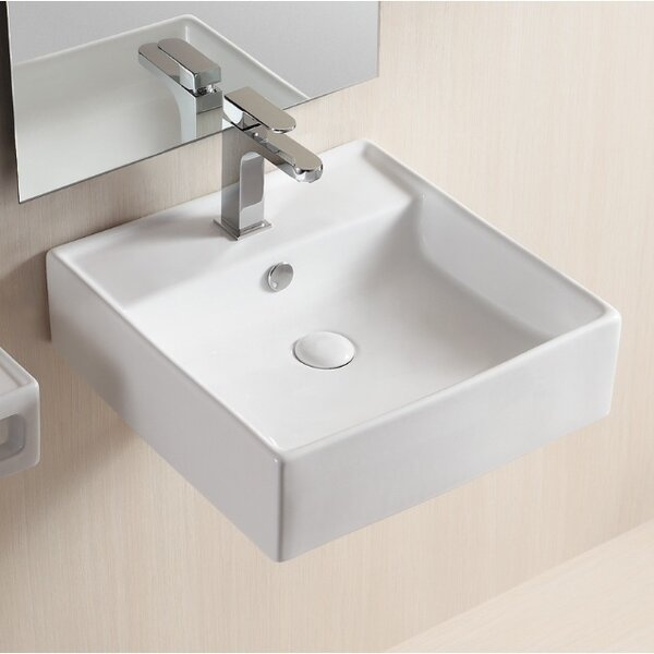 Ceramic 19 Wall Mount Bathroom Sink with Overflow by Caracalla