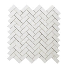 Thassos Herringbone 0.75 x 2 Marble Mosaic Tile in White by Seven Seas