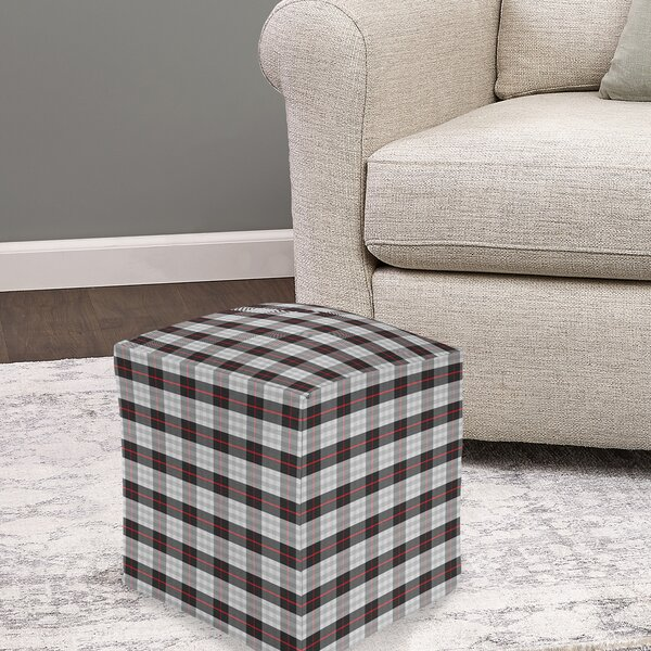 Sather Plaid Pouf by Millwood Pines