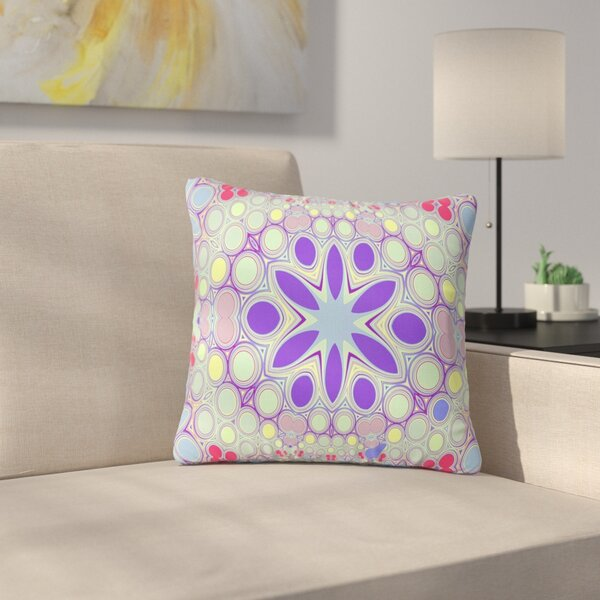 Alison Coxon Hippy Flowers Kaleidoscope Outdoor Throw Pillow by East Urban Home