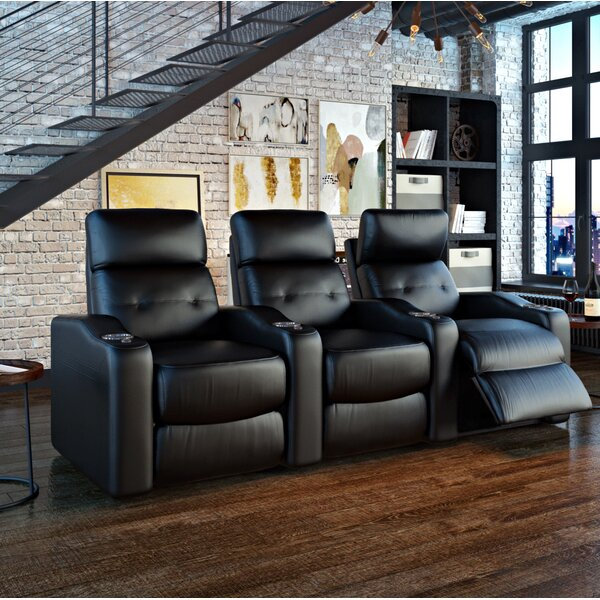 Power Leather Home Theater Sofa by Ebern Designs