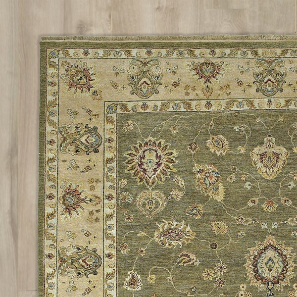 Clarkston Hand-Knotted Olive Area Rug by Astoria Grand