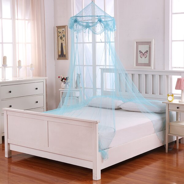 Buttons and Bows Kids Collapsible Hoop Sheer Bed Canopy by Casablanca Kids
