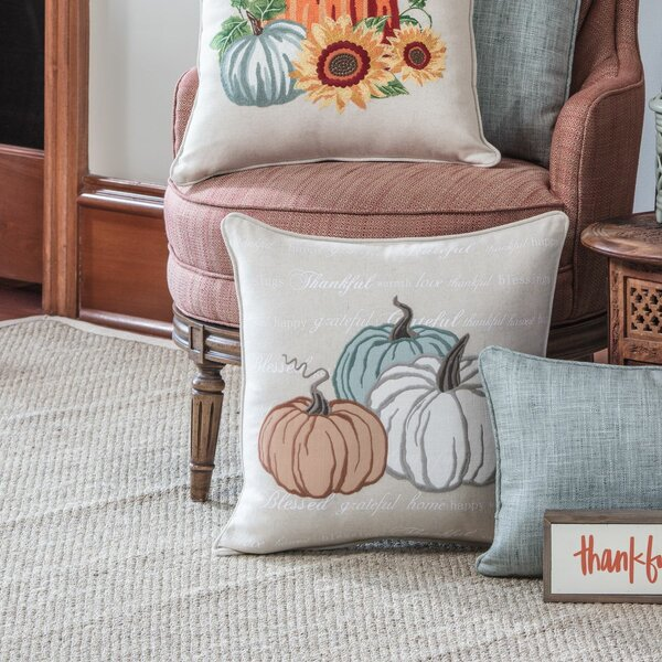 Delancey Natural Pumpkins Appliqued Harvest Throw Pillow by August Grove