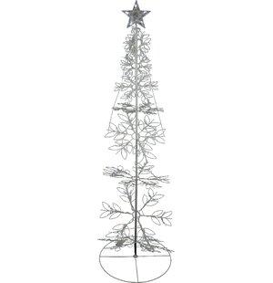 led lighted outdoor meteor effect snowflake hoop christmas tree yard art decoration - Outdoor Metal Christmas Trees