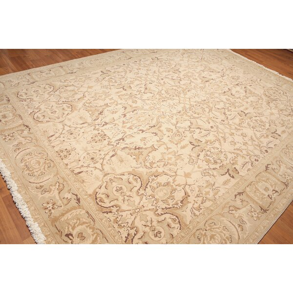 One-of-a-Kind Wolcott Pile Hand-Knotted Wool Beige Area Rug by Canora Grey