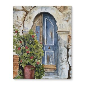 'Stone Door' Watercolor Painting Print on Wrapped Canvas by Fleur De Lis Living