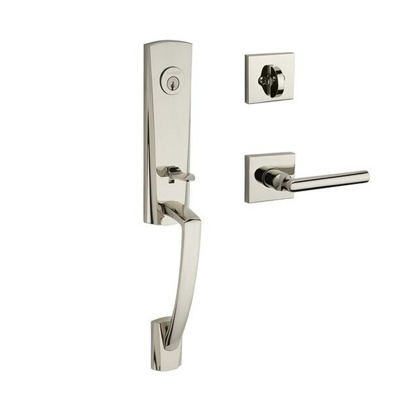 Miami Single Cylinder Handleset with Tube Door Lever and Contemporary Square Rose by Baldwin