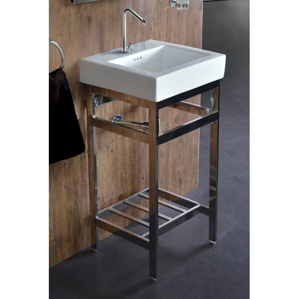 Arverne Stainless Steel Open Console 18 Single Bathroom Vanity Set by Ivy Bronx