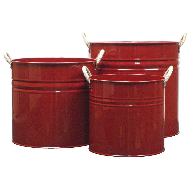 Enameled Galvanized 3 Piece Metal Pot Planter Set Reviews Joss Main