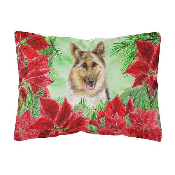 Ottawa German Shepherd Poinsettias Indoor/Outdoor Throw Pillow by The Holiday Aisle