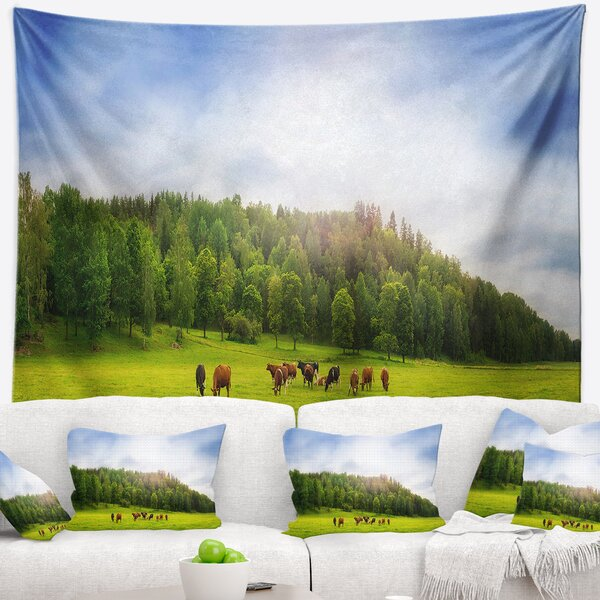 Landscape Cows on Field Panorama Tapestry and Wall Hanging by East Urban Home