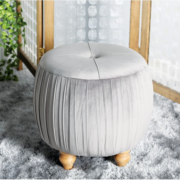 Ahner Eclectic Round Tufted Ottoman by House of Hampton