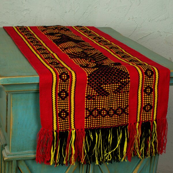 Mexican Backstrap Loom Woven Table Runner by Novica