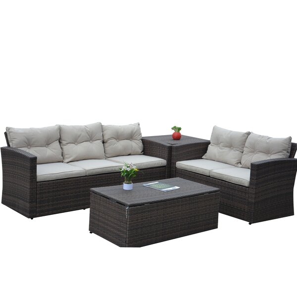 Kelton 4 Piece Rattan Sofa Seating Group With Cushions By Alcott Hill by Alcott Hill Modern
