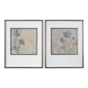 Shadow Florals 2 Piece Framed Graphic Art Set by Darby Home Co