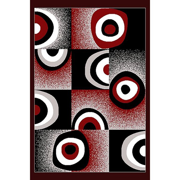 Courter Red/Black Area Rug by Ebern Designs