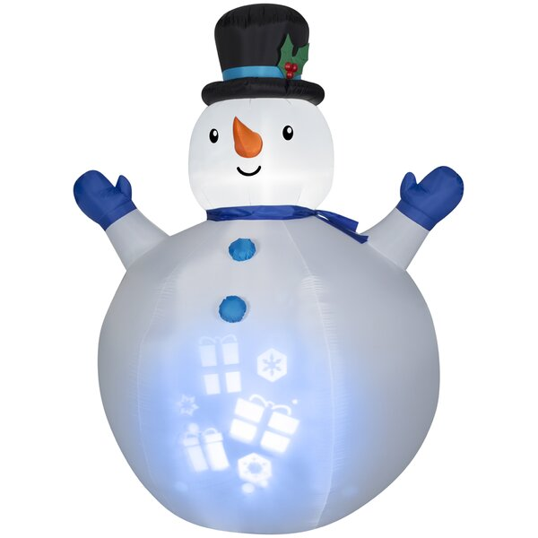 Airblown Inflatables Christmas Panoramic Projection Snowman Decoration by The Holiday Aisle