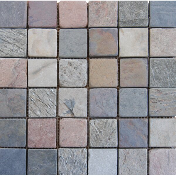 Tumbled Mixed Slate Mesh Mounted 12 x 12 Natural Stone Mosaic Tile by MSI