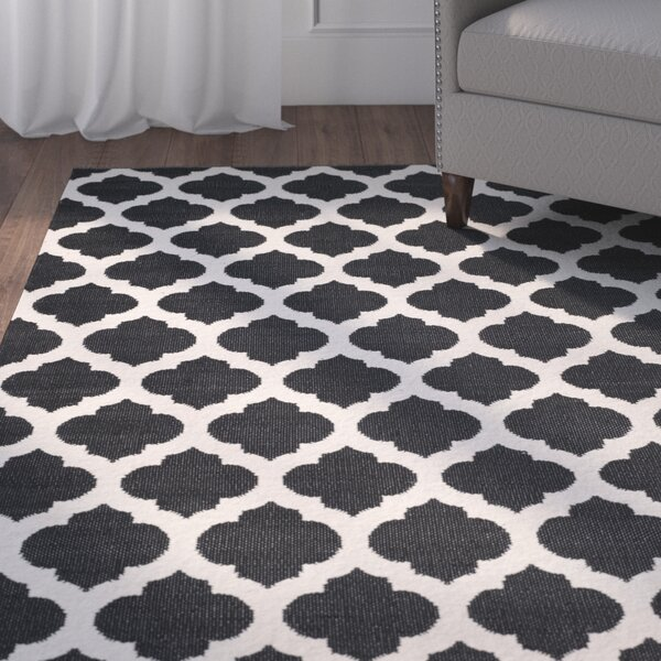 Willow Hand-Woven Black/Ivory Area Rug by Charlton Home