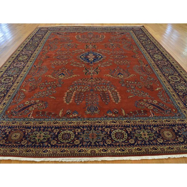One-of-a-Kind Bellmore Rust Sarouk Fereghan New Zealand Handwoven Red Wool Area Rug by Isabelline