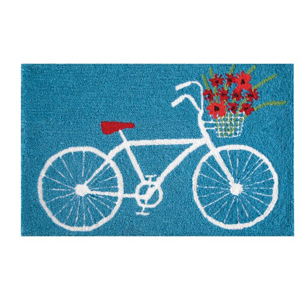 Xandra White Bike Blue Area Rug by August Grove