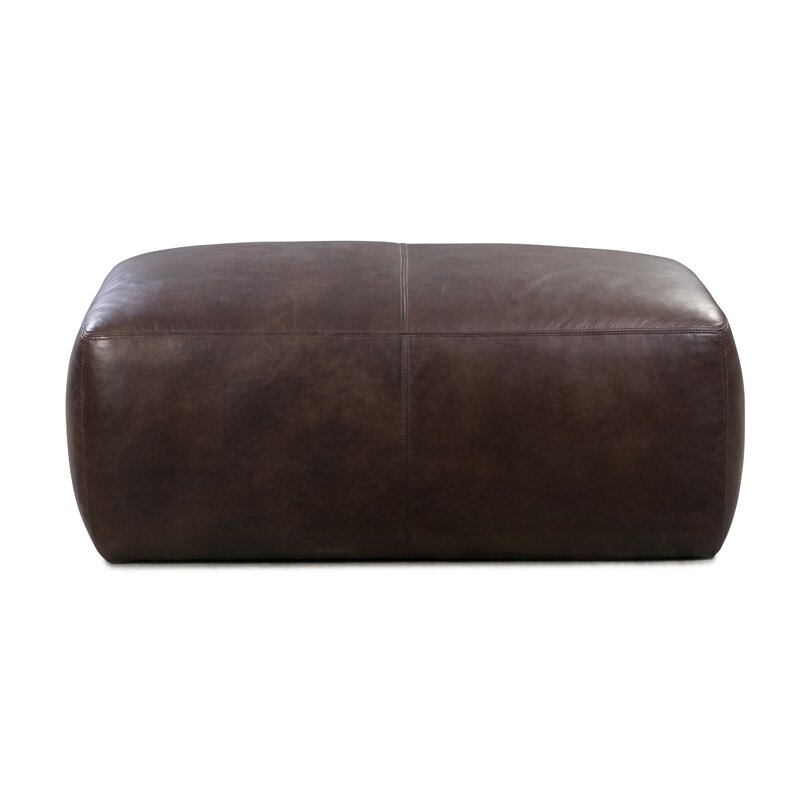17 Stories  Ashley Leather Pouf Upholstery Color: Madagascar Cocoa