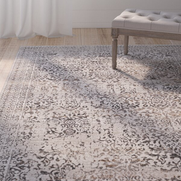 Chesler Floral and Plants Dark Brown Area Rug by Ophelia & Co.