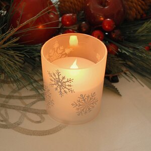 Snowflakes Glass Unscented Candle (Set of 2)