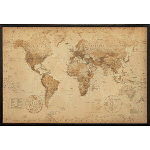'World Map Antique' Wood Framed Graphic Art Print Poster by Alcott Hill