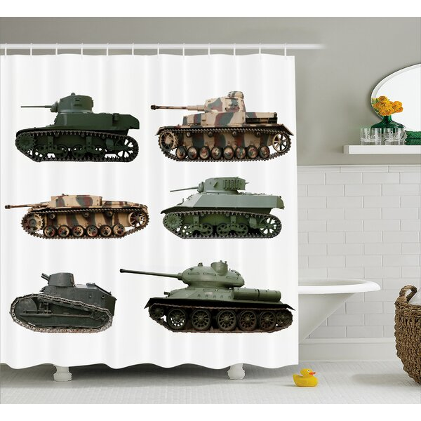 Fabric Second World War Tanks Shower Curtain by East Urban Home