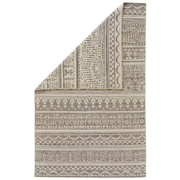 Reiber Hand-Woven Wool Gray/White Area Rug by Bloomsbury Market