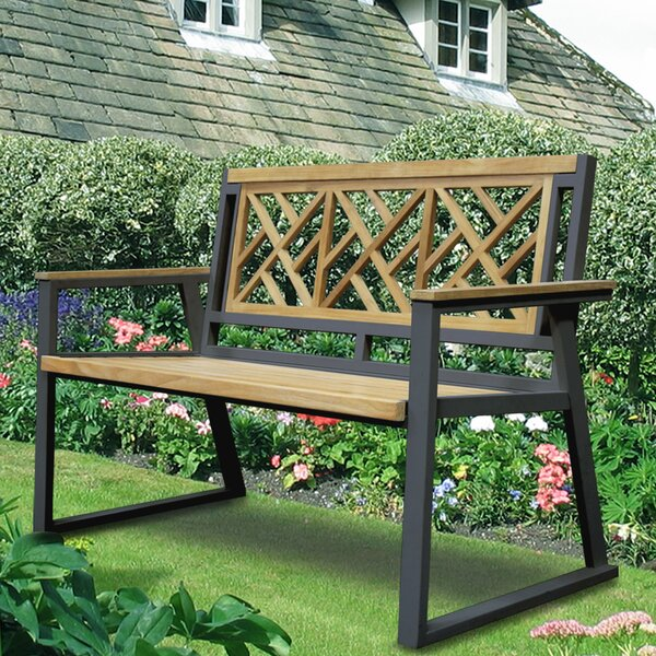 California Room Chippendale Teak and Iron Garden Bench by Asta Furniture, Inc.
