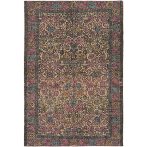 Borendy Oriental Hand-Woven Rectangle Neutral/Pink Area Rug by World Menagerie