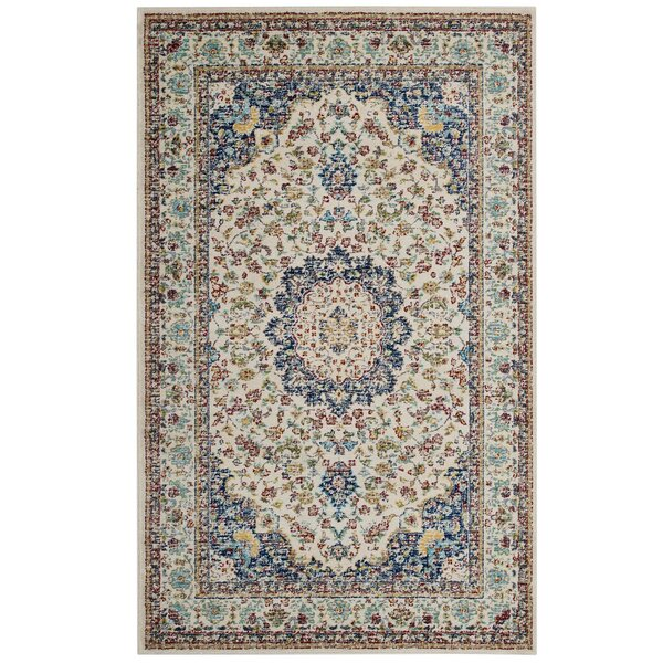 Fulcher Persian Medallion Blue/Beige Area Rug by Charlton Home