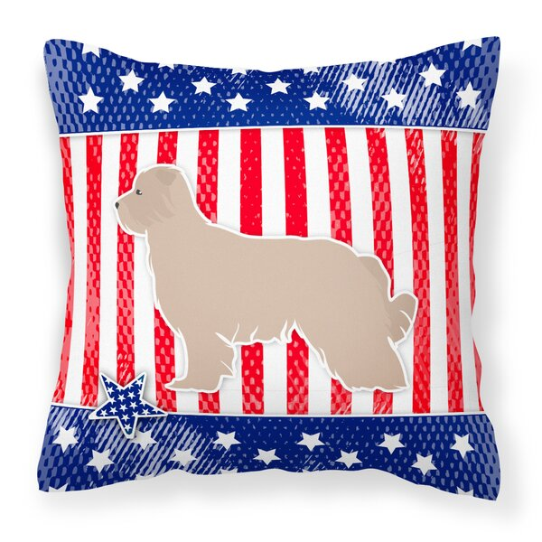 Patriotic USA Pyrenean Shepherd Indoor/Outdoor Throw Pillow by The Holiday Aisle