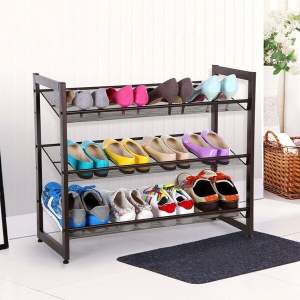 3-Tier Metal Adjustable Organizer Shelf Closet Entryway 15 Pair Shoe Rack