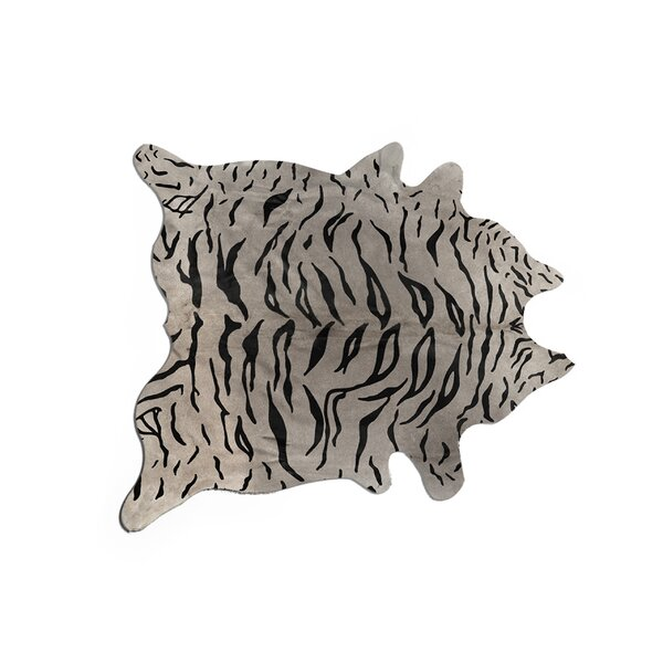 Kronborg Hand-Woven Cowhide Black/Gray Area Rug by Bloomsbury Market
