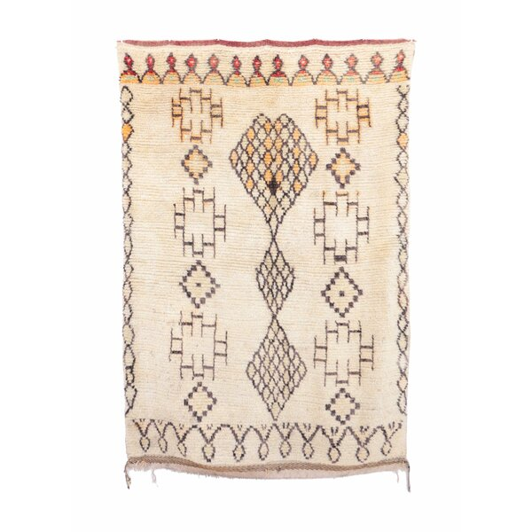 Azilal Vintage Moroccan Hand Knotted Wool Beige/Orange/Brown Area Rug by Indigo&Lavender