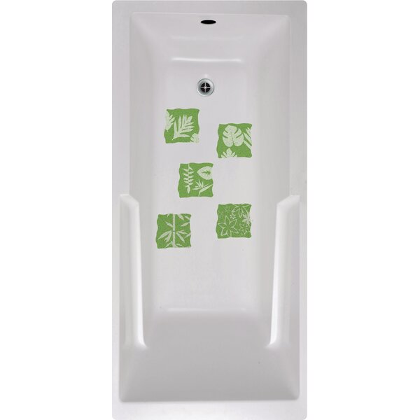 Floral Tiles Bath Tub and Shower Treads (Set of 5) by No Slip Mat by Versatraction