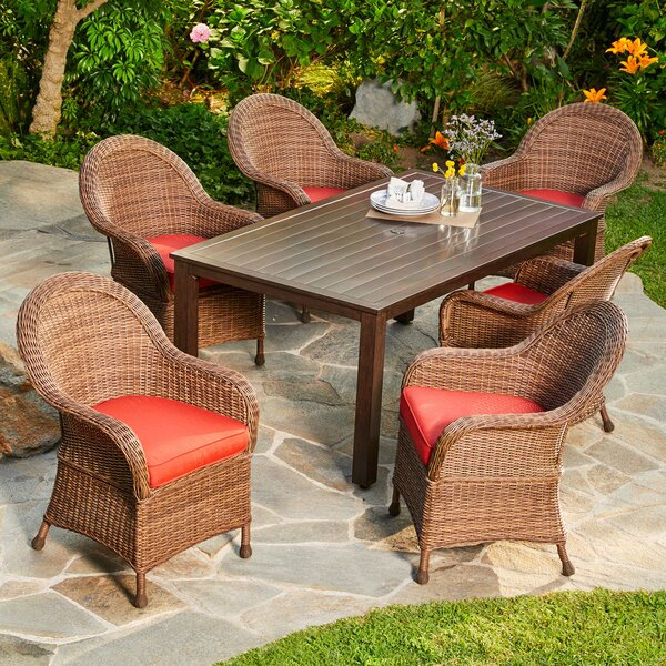 Acree Hacienda 7 Piece Dining Set With Cushions by One Allium Way