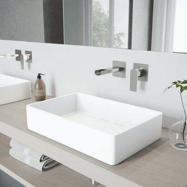 Matte Stone Rectangular Vessel Bathroom Sink with Faucet