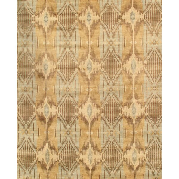 Ikat Hand-Knotted Gray/Light Blue Area Rug by Pasargad