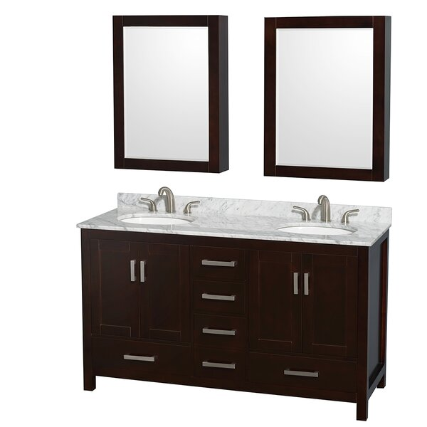 Sheffield 60 Double Espresso Bathroom Vanity Set with Medicine Cabinet by Wyndham Collection
