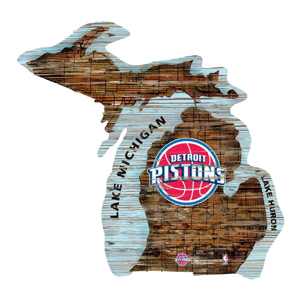 NBA Pistons Distressed State Wall Décor by Fan Creations